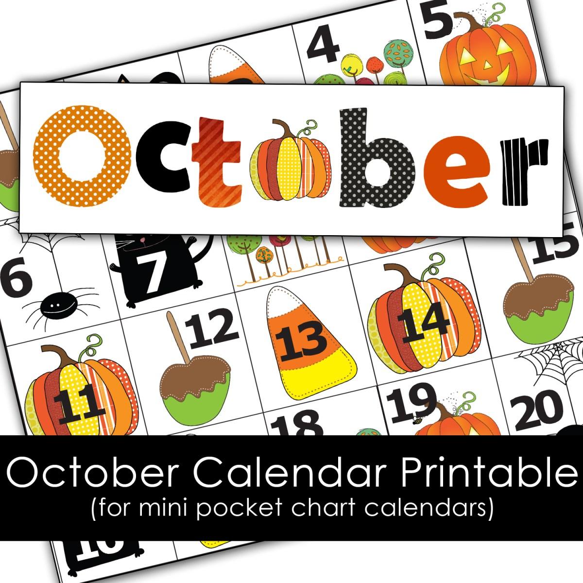October Calendar Printables