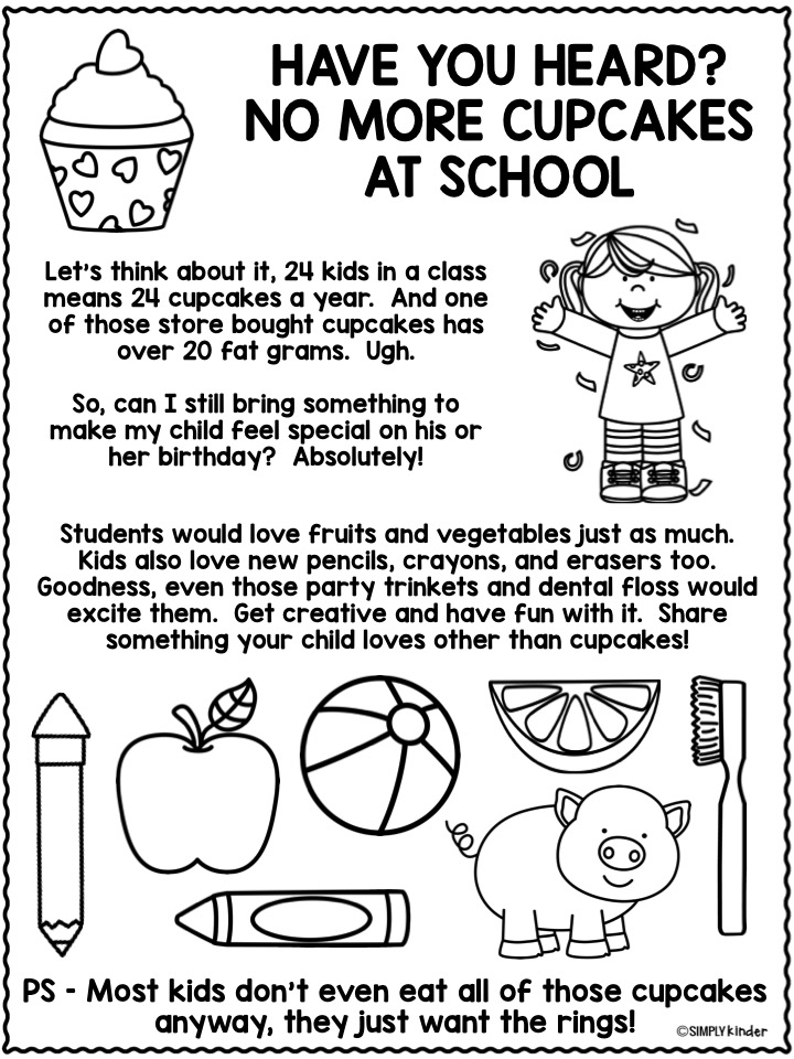No More Cupcakes Flyer. Send this flyer home to inform your families and give them some ideas for celebrating birthdays.