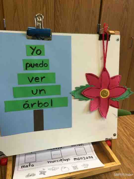 Sentence Christmas tree from a dual immersion class in Georgia! (Beautiful poinsettia flower as well!)