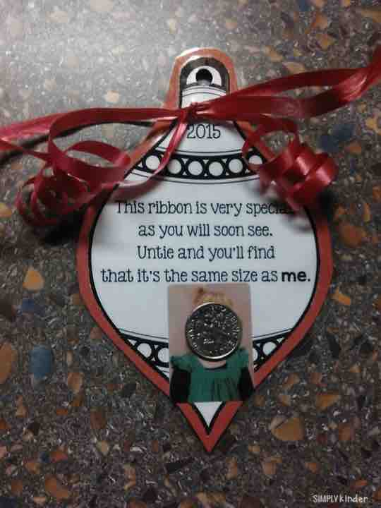 Adorable ornament with ribbon cut the same size as the students. Makes a great gifts for parents.
