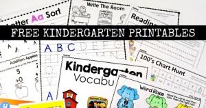 FREE Kindergarten Printables and Worksheets