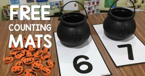 Free Counting Mats for the cute little Halloween Buckets