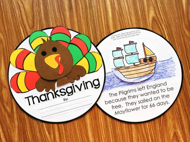 Interactive Thanksgiving Book for Kindergarten, Preschool, and First Grades from Simply Kinder.  Kids will love learning about the holiday of Thanksgiving with this fun book with interactive pages!
