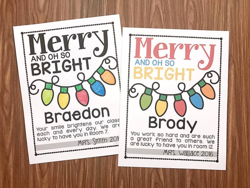Merry and Oh So Bright Note for teachers to make for their students.  Free from Simply Kinder.