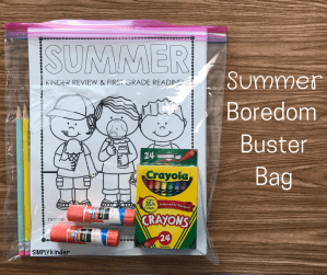 Summer Boredom Buster Bag - A fun way to use up leftover school supplies.