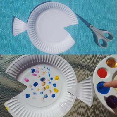 Rainbow Fish paper plate craft image 1