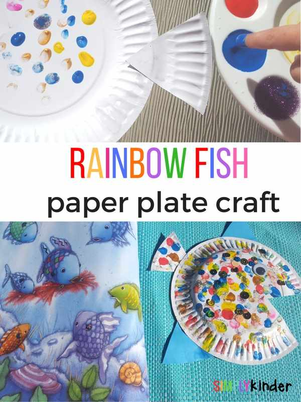 Rainbow fish paper plate craft. A fun finger painting paper plate craft to go with the book The Rainbow Fish