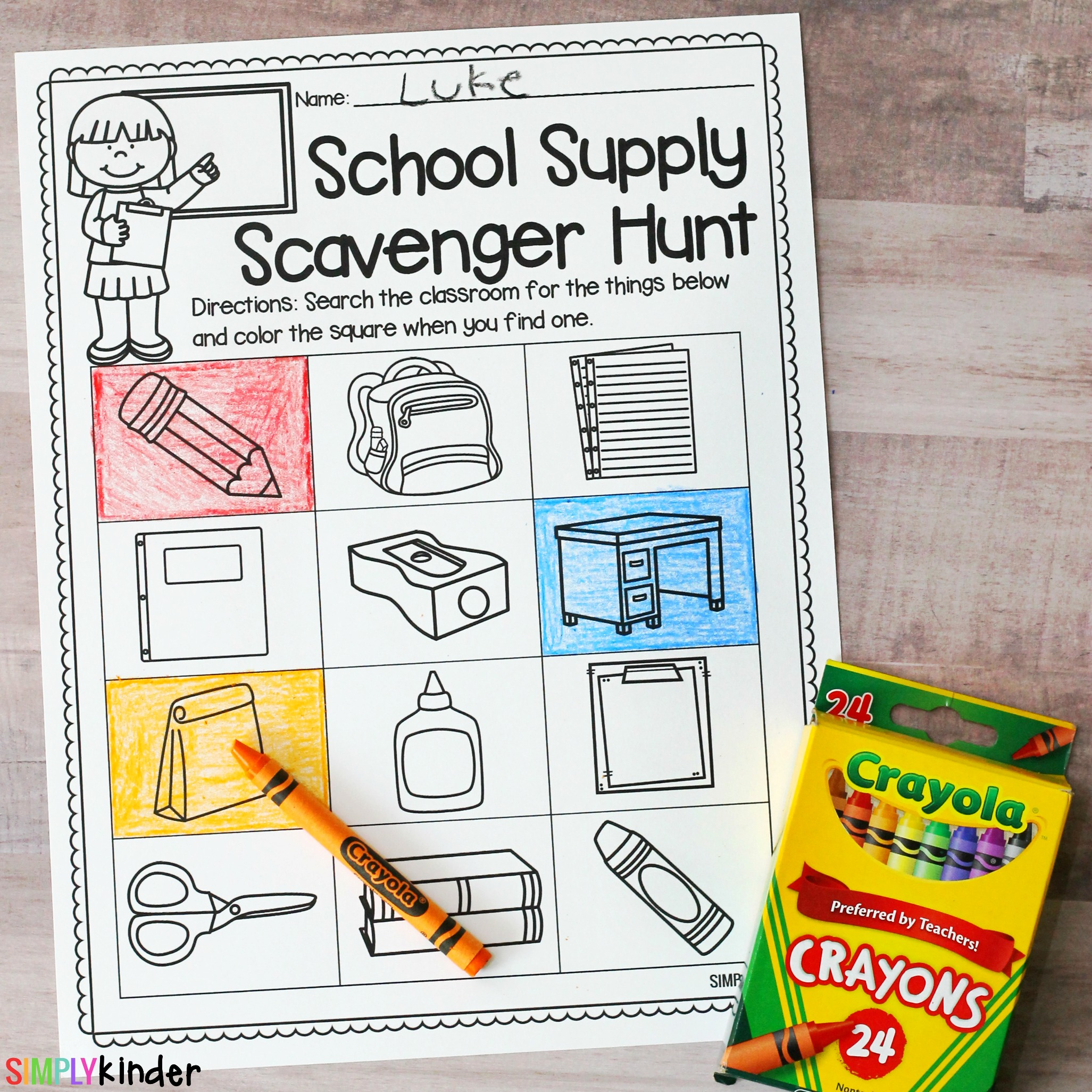 School Supply Scavenger Hunt