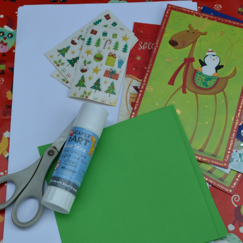 simply kinder recycled christmas cards materials