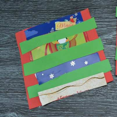 simply kinder recycled christmas cards step 2