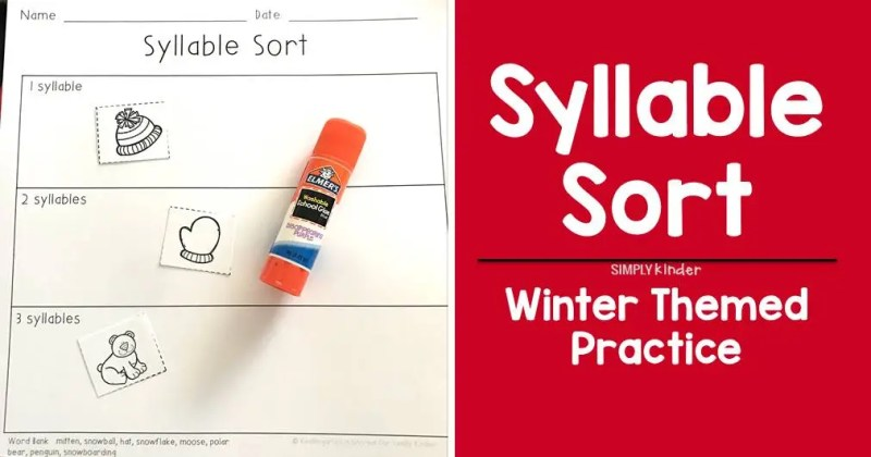 I use this free winter themed syllable sort with students during my literacy stations in my kindergarten classroom.