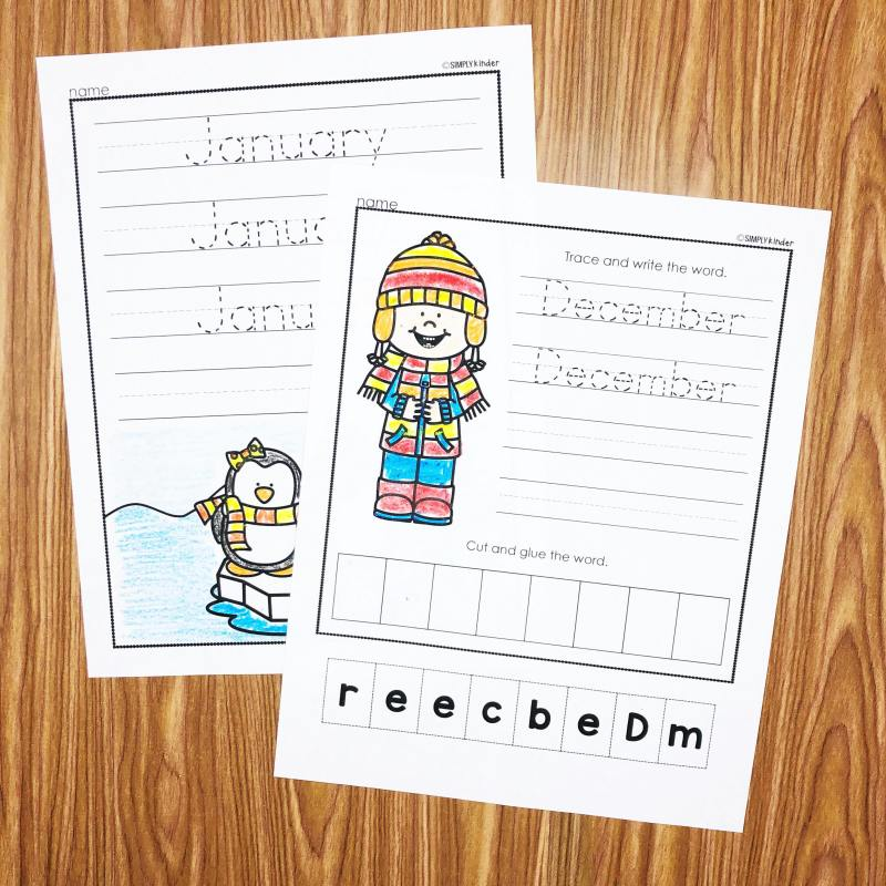 Learn to write the months printables from Simply Kinder.  Teacher your students how to write the months of the year.