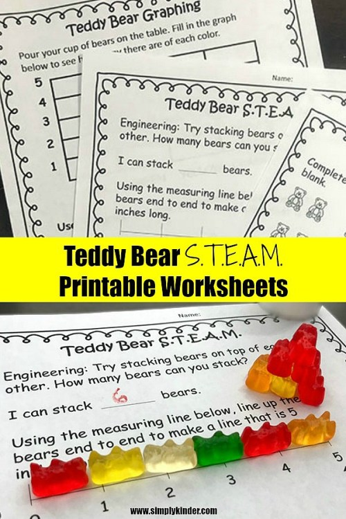 Cute printable worksheets for kids. Teddy Bear Picnic themed activities. S.T.E.A.M. worrksheets #kindergartedprintables