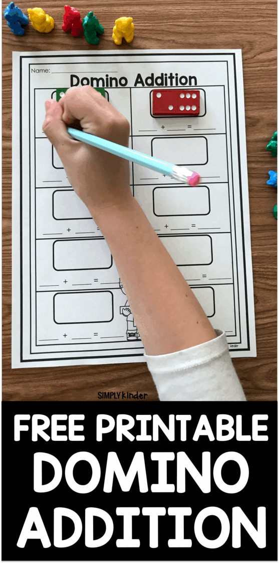 Free Printable Domino Addition - Simply Kinder [ 2250 x 1114 Pixel ]