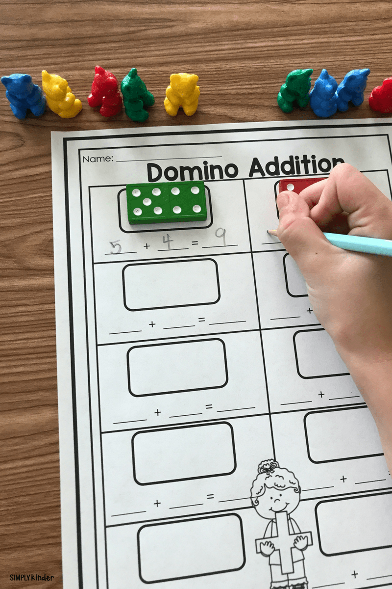 Free Printable Domino Addition - Simply Kinder [ 1200 x 800 Pixel ]