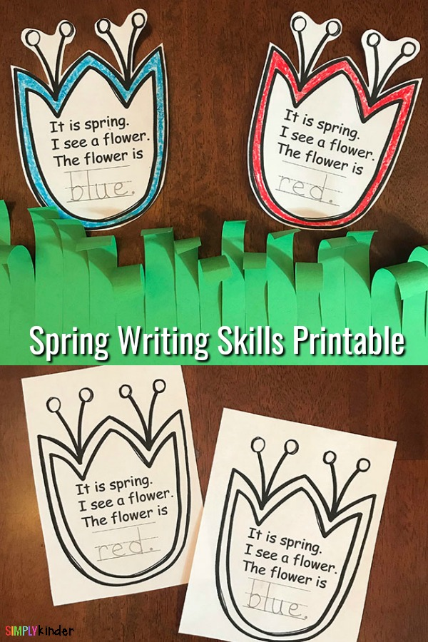 Spring flowers printable writing activity for kids.