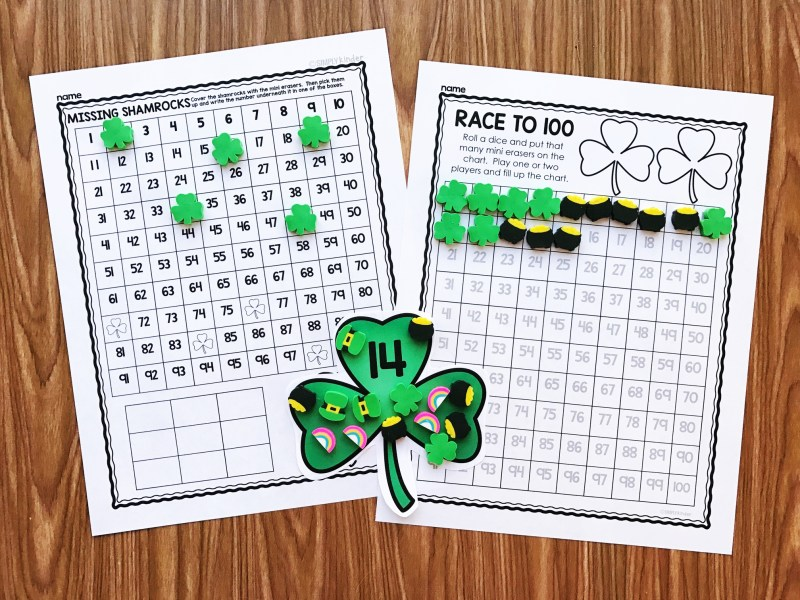 St. Patrick's Day Mini Eraser Activities.  Counting, adding, subtraction, working with sounds, and so much more!  Perfect for preschool, kindergarten, and first grade from Simply Kinder.