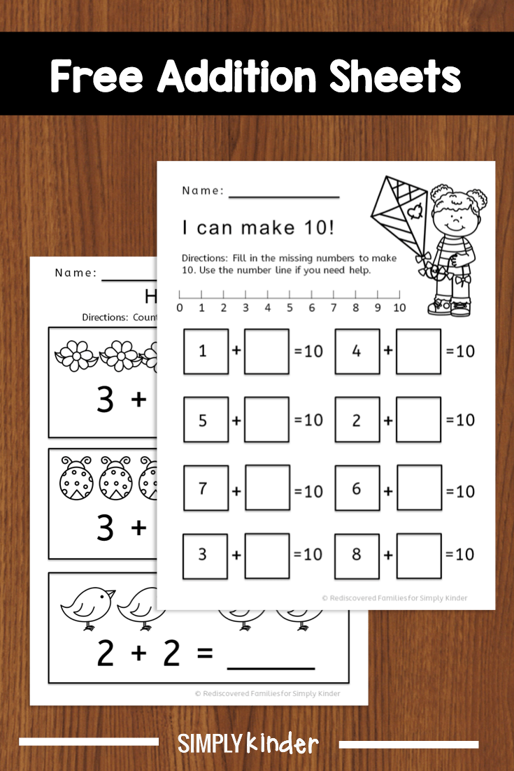 medium resolution of Kindergarten Math Activity: Fun With Addition Worksheets - Simply Kinder