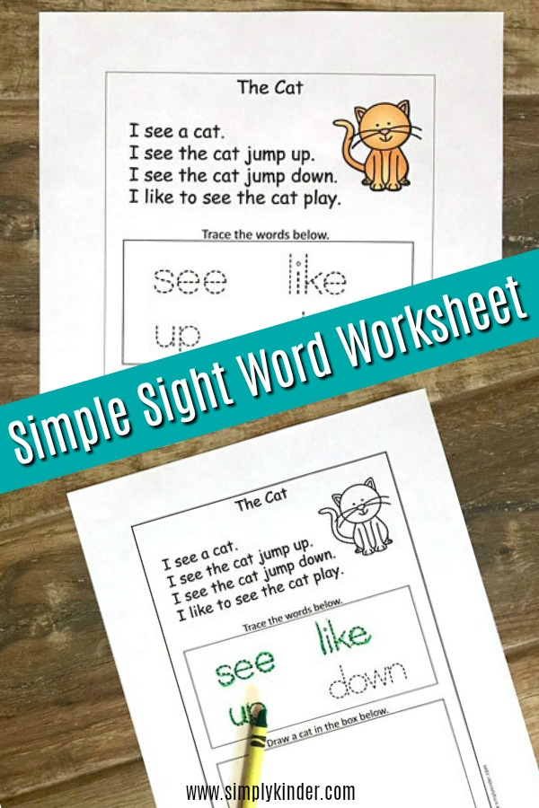 Kindergarten sight words printable worksheet. Read this fun story about a cat and practice writing skills.