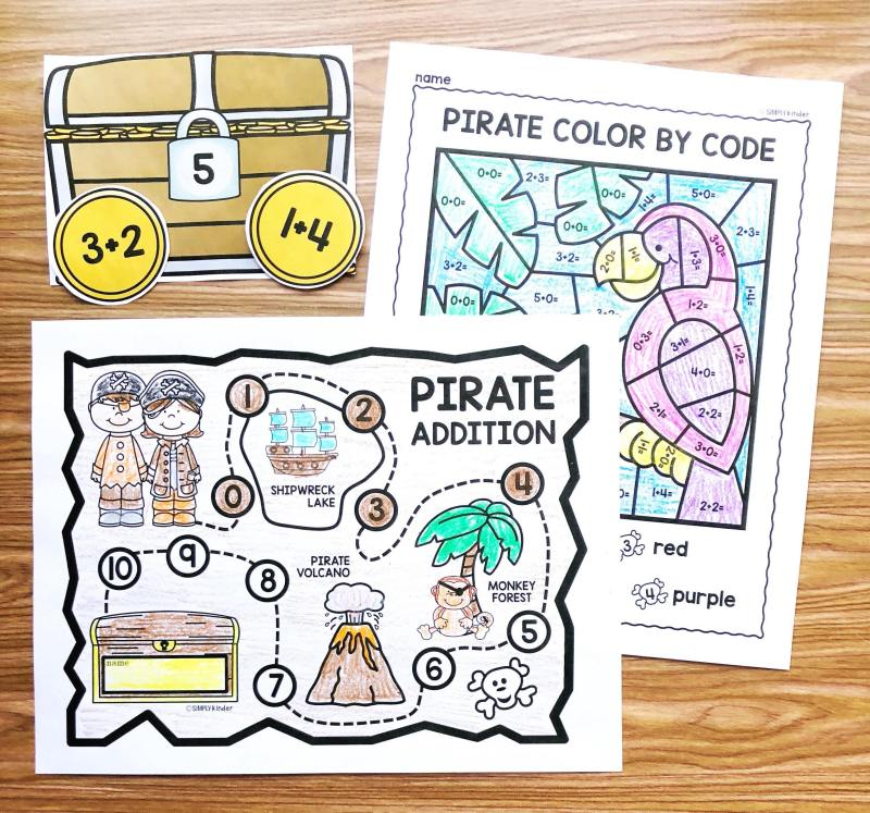 Free Pirate Math Fact Fluency practice pages perfect for kindergarten and first grade students from Simply Kinder. Students will love using the pirate map to track the facts they know and have fun playing the games!