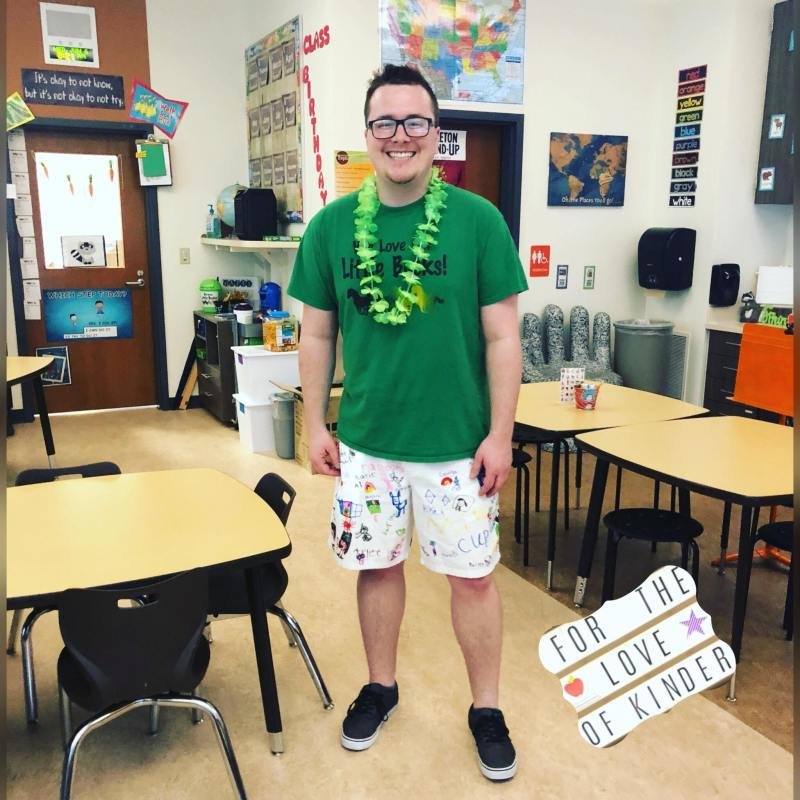 Your students will love when you wear clothes that they help to make for you! Create some fun memory shorts for the end of the school year!