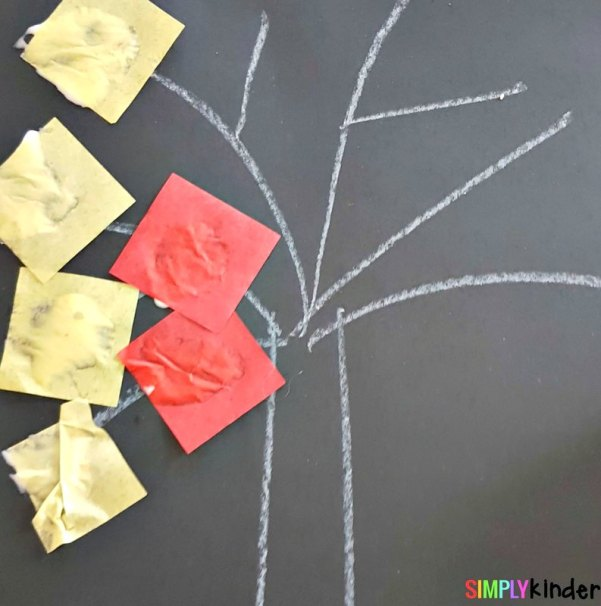 fall leaves fine motor craft square