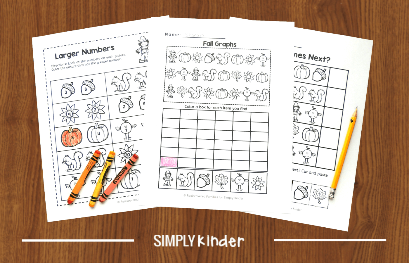 Free Fall Math Worksheets To Use With Kinders - Simply Kinder [ 900 x 1400 Pixel ]