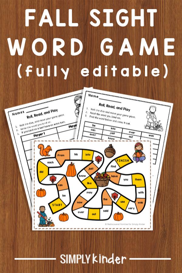 printable sight word game