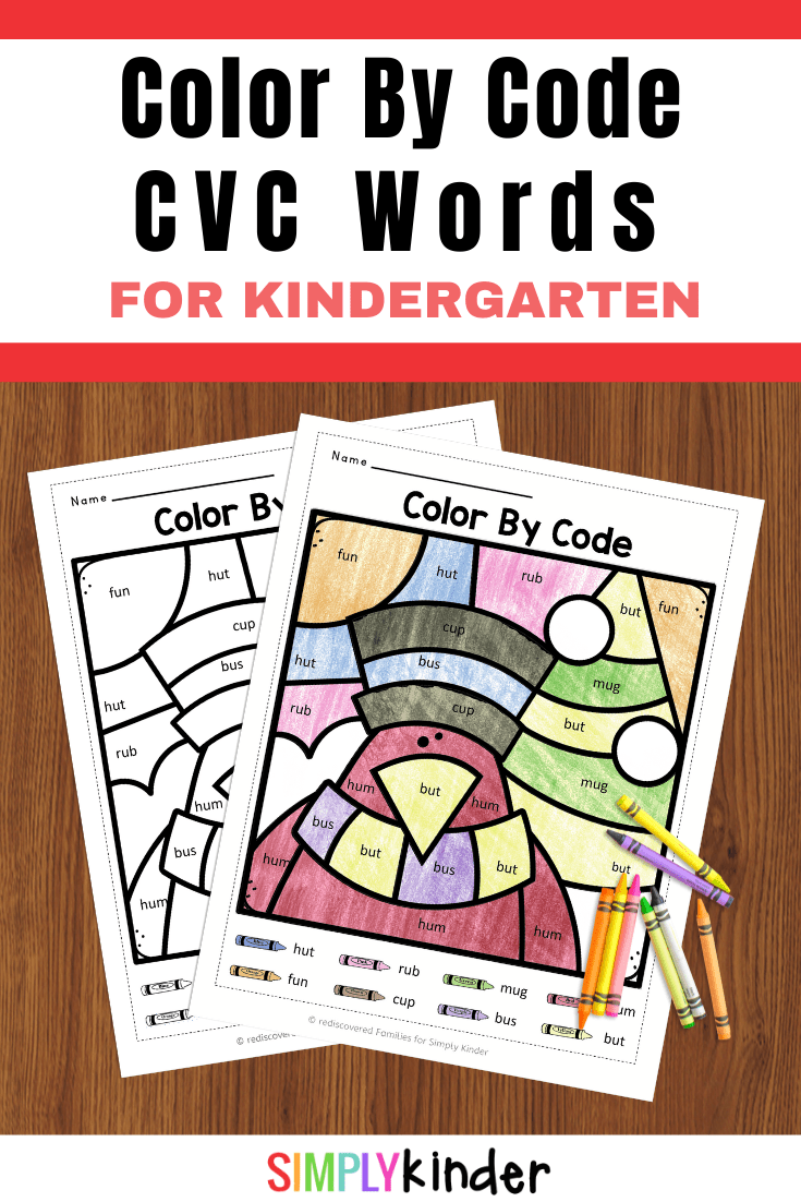 Free Winter Color By Code Worksheets: CVC Words - Simply Kinder [ 1102 x 735 Pixel ]