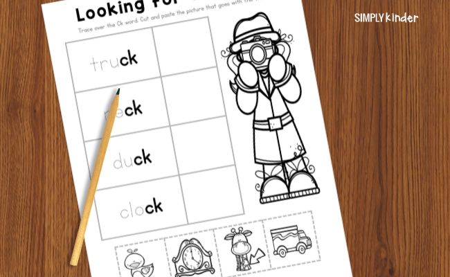 worksheets with words ending in ck
