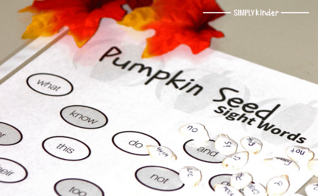 pumpkin seed sight words