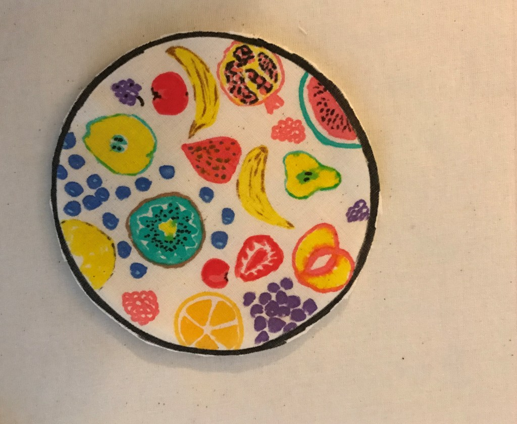 Decorated pie filling placed on the page.