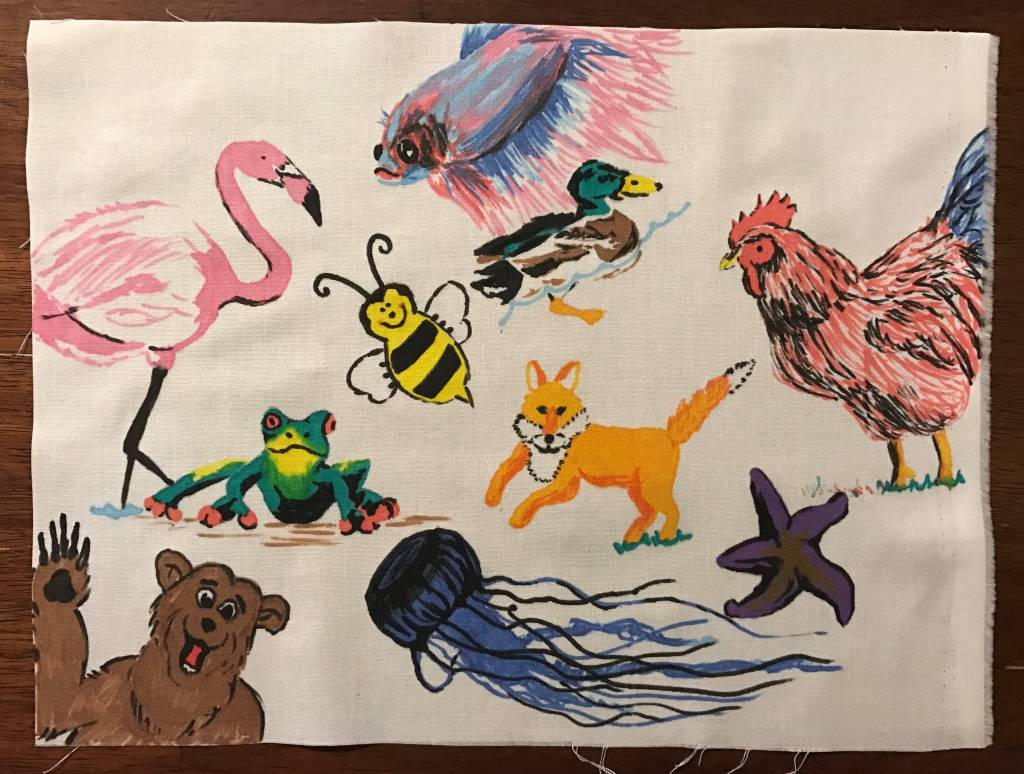 Finished colorful animals page.