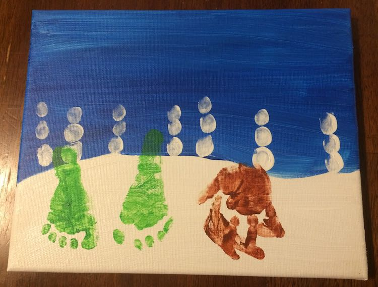 Add your footprints and upside down handprints. A.K.A. the base of your trees and reindeer.