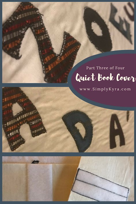 Create your own quiet book cover. This is part three of my four part series on making the cover. This post goes over readying the cover fabric with the velcro and strap attachment, handles, and any appliqué you want to add.