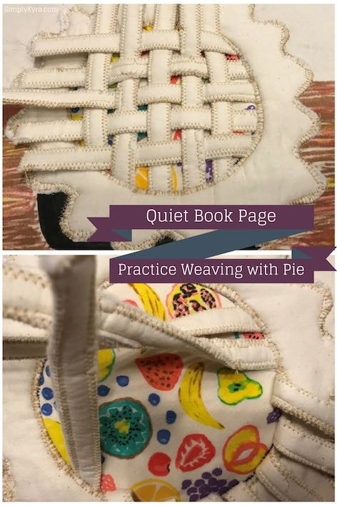Quiet Book Page – Practice Weaving with Pie