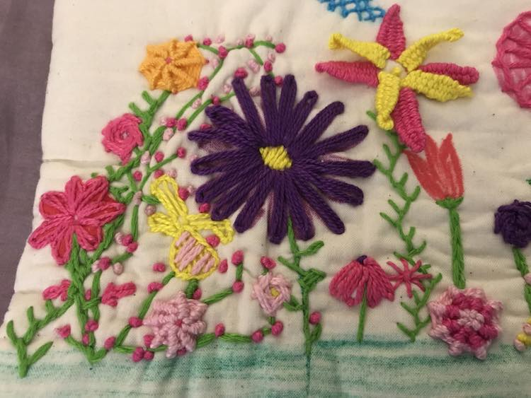 Closer look at the finished and embroidered quiet book page.