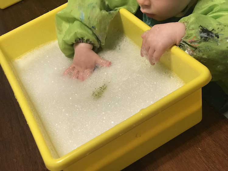 Bubbles are always fun... and clean off the leftover slime remnants on the toys.