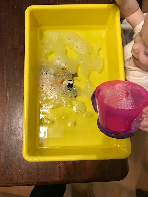 It's always fun to dump your soapy toys in the water.