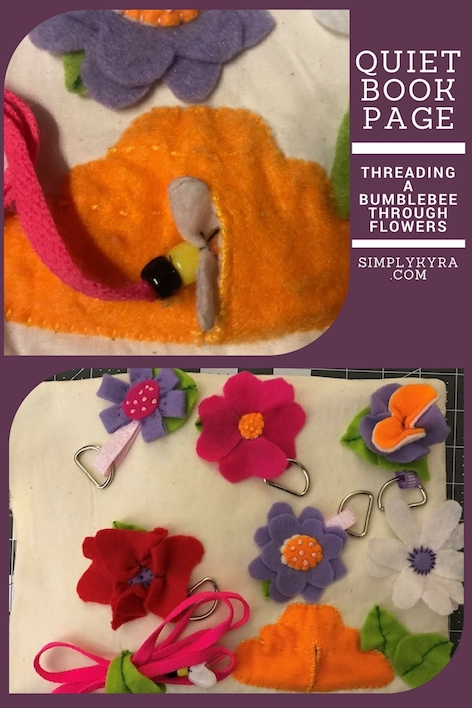 Quiet Book Page – Threading with a Bumblebee through Flowers