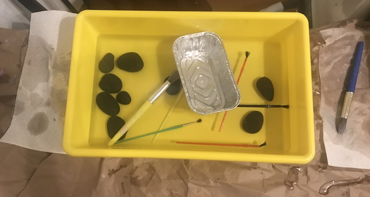 Cleanup was easy as it was divided up and the kids 'cleaned' the unpainted rocks and tools in their sensory bin.