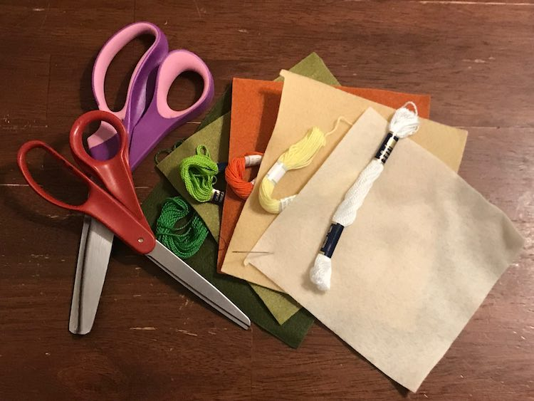 I grabbed my sewing scissors and pinking shears before going through my embroidery floss for matching colors.
