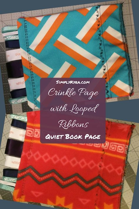 Quiet Book Page - Crinkle Page with Ribbons