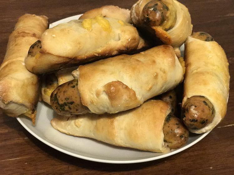 I piled the finished sausage rolls in a bowl to serve on the table.