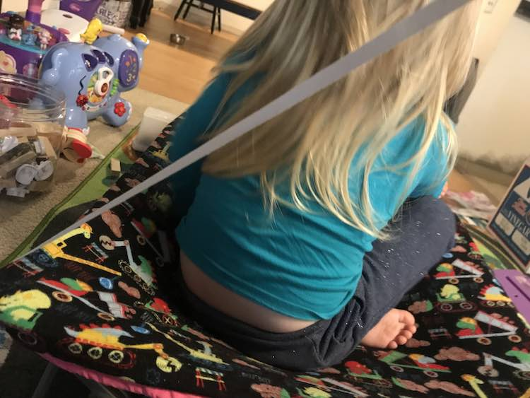 I wanted to test if the elastic was tight enough and Ada wanted to try it out too.