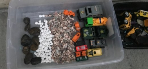 I started by setting up the different types of rocks in their own section and then adding the cars to the open side.