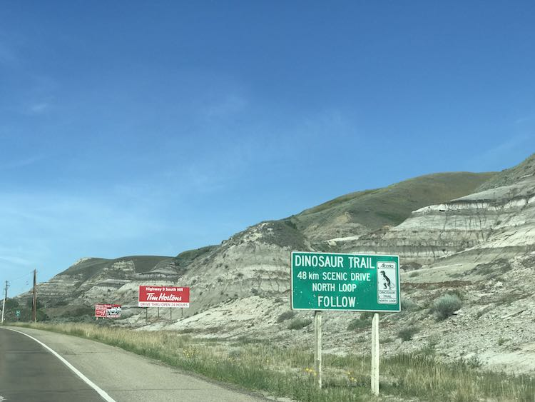 Saw the sign for Dinosaur Trail while heading from Drumheller to the Royal Tyrrell Museum.