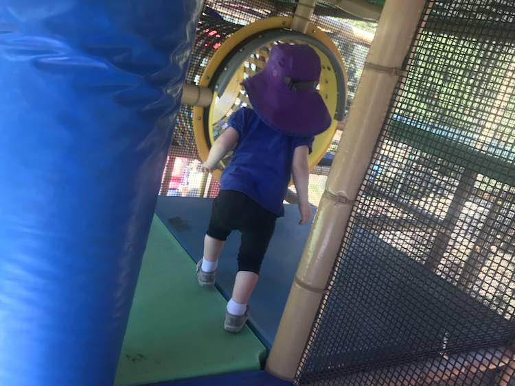 The playground was enclosed like indoor playgrounds and I noticed kids under 5 were supposed to be accompanied by an adult.