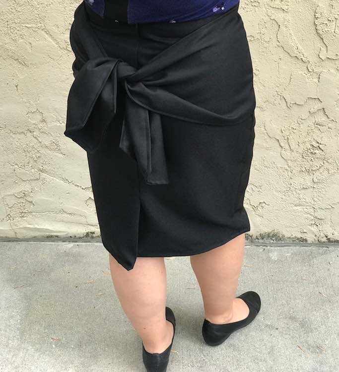 Full back view of the paige pencil skirt.