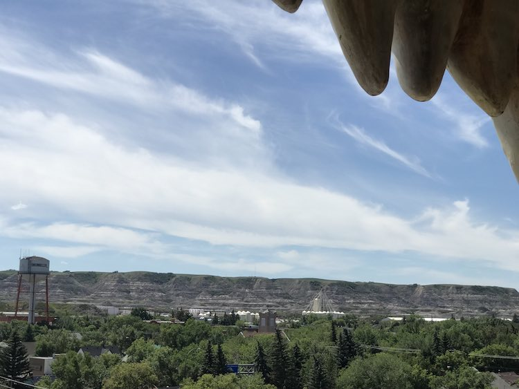 View of Drumheller to the left looking out.